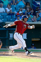 Andrew Aplin #22 of the Lancaster JetHawks bats against the Rancho Cucamonga Quakes at The Hanger on August 25, 2013 in Lancaster, California. Lancaster defeated Rancho Cucamonga, 7-1. (Larry Goren/Four Seam Images)