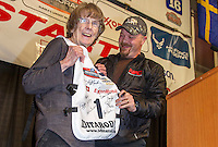Joanne Potts receives the honorary musher award from Aaron Burmiester at the 2016 Iditarod musher position drawing banquet at the Dena'ina convention center in Anchorage, Alaska on Thursday March 3, 2016  <br /> <br /> © Jeff Schultz/SchultzPhoto.com ALL RIGHTS RESERVED<br /> DO NOT REPRODUCE WITHOUT PERMISSION
