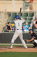 Brendan Rodgers (1) of the Asheville Tourists at bat against the Kannapolis Intimidators at Kannapolis Intimidators Stadium on May 27, 2016 in Kannapolis, North Carolina.  The Tourists defeated the Intimidators 7-6.  (Brian Westerholt/Four Seam Images)