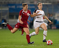 Amy Rodriguez, Martina Franko. The USWNT defeated Canada in extra time, 2-1, during the 2008 Beijing Olympics in Shanghai, China.
