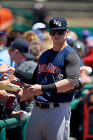 Scranton/Wilkes-Barre RailRiders first baseman Tyler Austin (3) signs autographs before a game against the Rochester Red Wings on June 7, 2017 at Frontier Field in Rochester, New York.  Scranton defeated Rochester 5-1.  (Mike Janes/Four Seam Images)