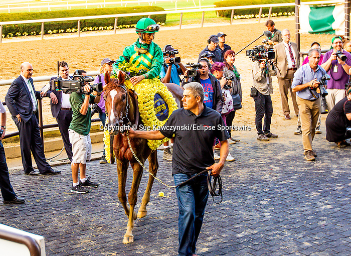 """SEPT 28, 2019 : Code of Honor with John Velazquez, wins the $750,000 """"Win and You're In""""  Jockey Club Gold Cup Stakes, via disqualification, at Belmont Park, in Elmont, NY, Sept 7, 2019. Sue Kawczynski_ESW_CSM,"""