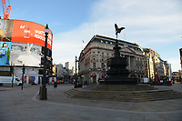 General view of a deserted Piccadilly Circus during the ongoing Lockdown restrictions in London on 30th December 2020