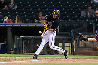 ASU Sun Devils center fielder Hunter Bishop (4) hits a home run during an Instructional League game against the Texas Rangers at Surprise Stadium on October 6, 2018 in Surprise, Arizona. (Zachary Lucy/Four Seam Images)