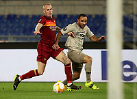 Football Soccer: Europa League -Round of 16 1nd leg AS Roma vs FC Shakhtar Donetsk, Olympic Stadium. Rome, Italy, March 11, 2021.<br /> Shakhtar Donetsk's Ismaily (R) in action with Roma's Rick Karsdorp (L) during the Europa League football soccer match between Roma and  Shakhtar Donetsk at Olympic Stadium in Rome, on March 11, 2021.<br /> UPDATE IMAGES PRESS/Isabella Bonotto