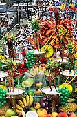 Rio de Janeiro, Brazil. Samba school float; fruit coctail theme with six scantily-clad girls; Carnival.