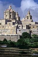 Mdina, Malta. City Walls, Church.