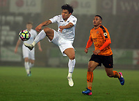 Pictured: Jefferson Montero of Swansea City jumps for the ball Monday 13 March 2017<br /> Re: Premier League 2, Swansea City U23 v Wolverhampton Wanderers FC at the Liberty Stadium, Swansea, UK