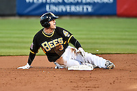 J.B. Shuck (3) of the Salt Lake Bees in action against the Sacramento River Cats at Smith's Ballpark on April 5, 2014 in Salt Lake City, Utah.  (Stephen Smith/Four Seam Images)
