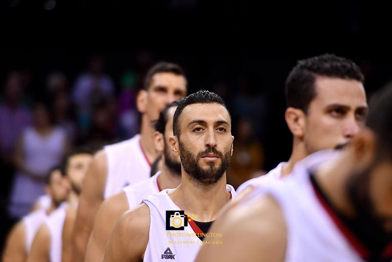 Syria's Sebouth Kharadjian,  FIBA World Cup Basketball Qualifier - NZ Tall Blacks v Syria at TSB Bank Arena, Wellington, New Zealand on Sunday 2 2018. <br /> Photo by Masanori Udagawa. <br /> www.photowellington.photoshelter.com