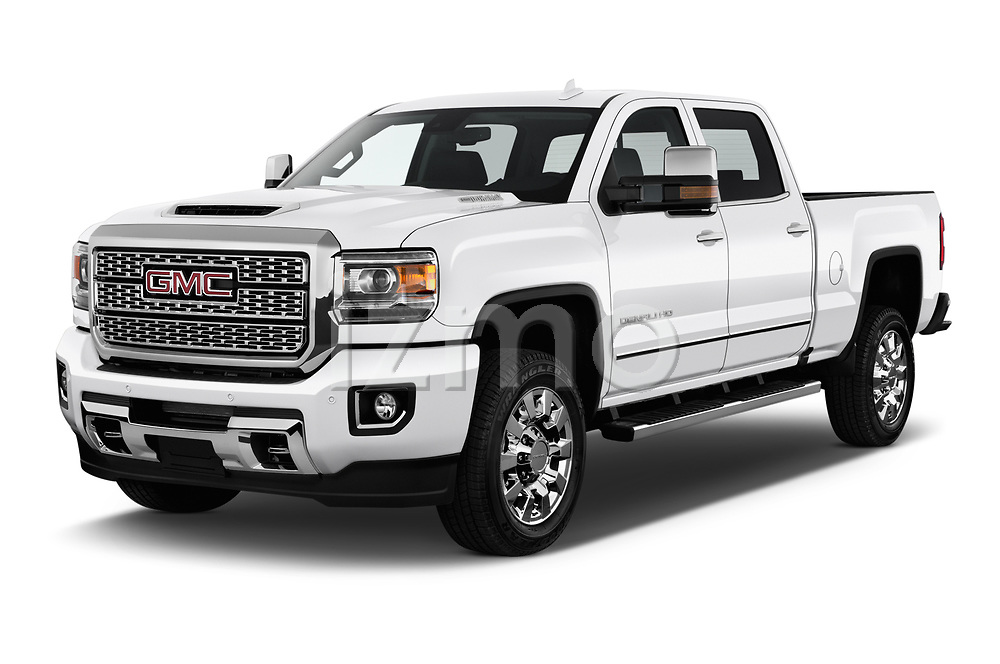 2019 GMC Sierra 2500 Denali 4 Door Pick Up angular front stock photos of front three quarter view