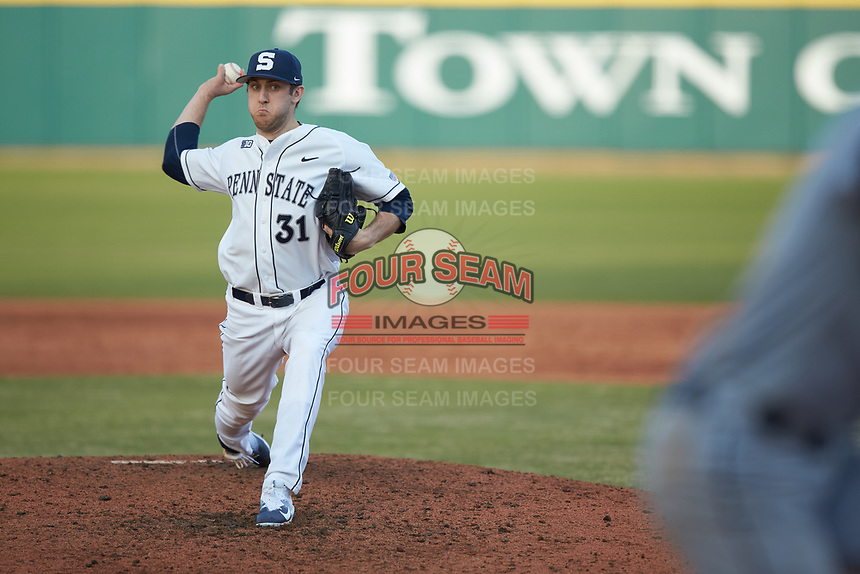 Penn State Nittany Lions relief pitcher Justin Hagenman (31) in action against the Xavier Musketeers at Coleman Field at the USA Baseball National Training Center on February 25, 2017 in Cary, North Carolina. The Musketeers defeated the Nittany Lions 7-5 in game two of a double header. (Brian Westerholt/Four Seam Images)