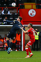 Liam McAlinden of Morecambe and Jordan Tunnicliffe of Crawley Town during Crawley Town vs Morecambe, Sky Bet EFL League 2 Football at Broadfield Stadium on 17th October 2020