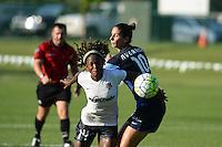 Kansas City, MO - Saturday July 16, 2016: Francisca Ordega, Yael Averbuch during a regular season National Women's Soccer League (NWSL) match at Swope Soccer Village.