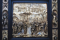 San Francisco, California, USA. Grace Cathedral (Episcopal). Entrance Door Detail Depicting a Scene from the Old Testament, Copy of Original by Sculptor Lorenzo Ghiberti.
