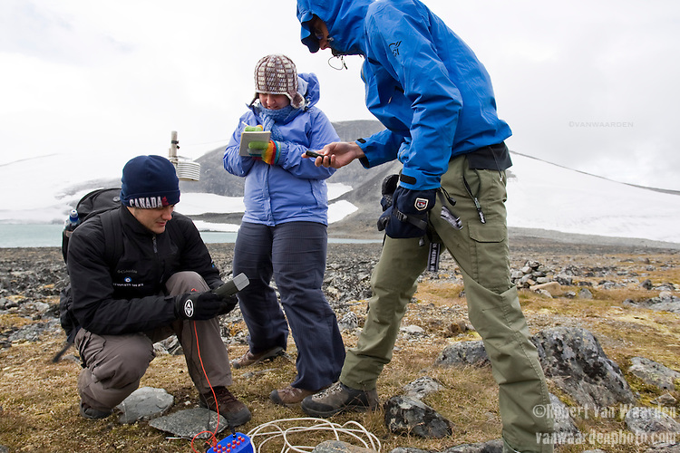 Robert Way takes temperatures of the ground testing for permafrost levels using a bore hole. Location: Jotunheimen Nasjonalpark
