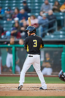 Erick Salcedo (3) of the Salt Lake Bees bats against the Sacramento River Cats at Smith's Ballpark on April 12, 2019 in Salt Lake City, Utah. The River Cats defeated the Bees 4-2. (Stephen Smith/Four Seam Images)