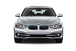 Car photography straight front view of a 2017 BMW 3-Series-Plug-In-Hybrid Sport 4 Door Sedan Front View