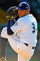 3 September 2007:  Vermont Lake Monsters pitcher Hassan Pena warms up prior to a game against the Lowell Spinners at Historic Centennial Field in Burlington, Vermont. The Lake Monsters defeated the Spinners 9-5 in New York-Penn League action...Mandatory Photo Credit: Ed Wolfstein Photo