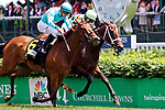 LOUISVILLE, KY - MAY 06: Roca Rojo #6, ridden by Florent Geroux, wins the Humana Distaff Stakes ahead of Believe in Bertie #4, ridden by Shaun Bridgmohan, , on Kentucky Derby Day at Churchill Downs on May 6, 2017 in Louisville, Kentucky. (Photo by Candice Chavez/Eclipse Sportswire/Getty Images)