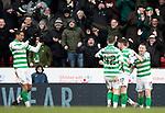 St Johnstone v Celtic…..01.03.20   McDiarmid Park   Scottish Cup Quarter Final<br />Ryan Chrsitie celebrates his goal<br />Picture by Graeme Hart.<br />Copyright Perthshire Picture Agency<br />Tel: 01738 623350  Mobile: 07990 594431