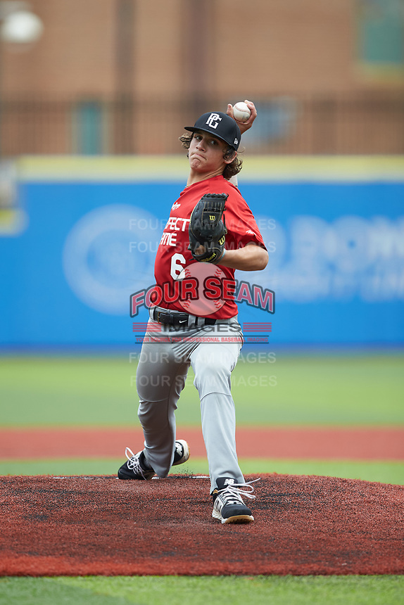 Shane Lanier (6) of Bear Grass High School in Plymouth, NC during the Atlantic Coast Prospect Showcase hosted by Perfect Game at Truist Point on August 22, 2020 in High Point, NC. (Brian Westerholt/Four Seam Images)