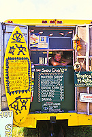"The yellow """"Shrimp Shack"""" is a favorite food stop for both locals and tourists. Located near the town of Punaluu on Oahu's windward coast."