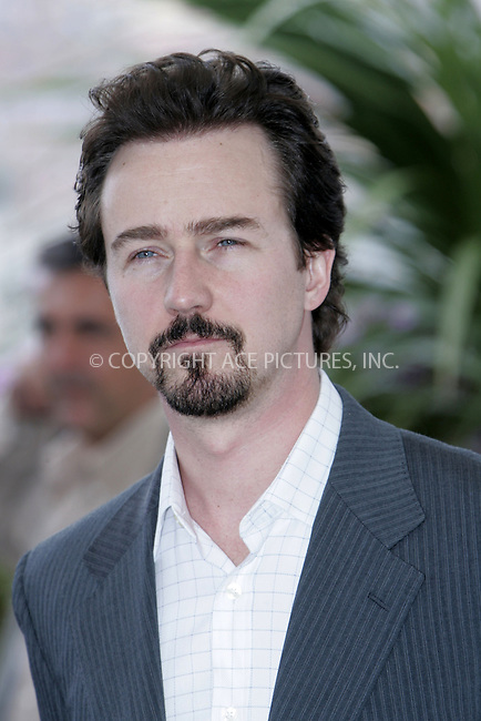 WWW.ACEPIXS.COM . . . . .  ... . . . . US SALES ONLY . . . . .....CANNES, MAY 14, 2005....Edward Norton at a photocall for 'Down In The Valley' at the Cannes Film Festival.....Please byline: FAMOUS-ACE PICTURES-H. BOESL... . . . .  ....Ace Pictures, Inc:  ..Craig Ashby (212) 243-8787..e-mail: picturedesk@acepixs.com..web: http://www.acepixs.com