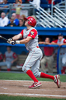 Williamsport Crosscutters second baseman Tyler Greene #13 during a NY-Penn League game against the Batavia Muckdogs at Dwyer Stadium on August 12, 2012 in Batavia, New York.  Batavia defeated Williamsport 7-2.  (Mike Janes/Four Seam Images)