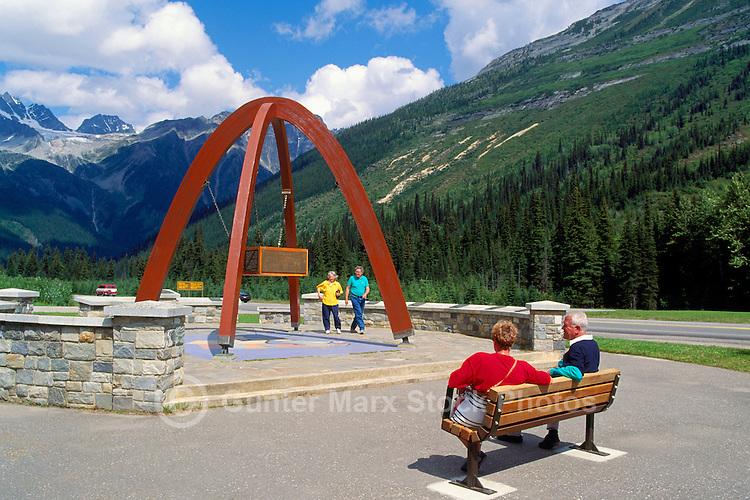 Rogers Pass Summit (Elev 1,382 m / 4,534 ft) in Glacier National Park, BC, British Columbia, Canada - Rest Stop and Memorial Arch along Trans Canada Highway 1 in Canadian Rockies