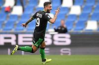 Francesco Caputo of US Sassuolo celebrates after scoring the goal of 1-0 <br /> Reggio Emilia 22/09/2019 Stadio Citta del Tricolore <br /> Football Serie A 2019/2020 <br /> US Sassuolo - SPAL <br /> Photo Andrea Staccioli / Insidefoto