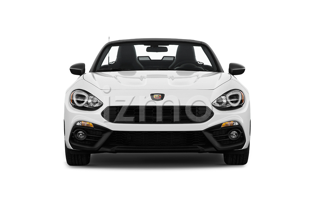 Car photography straight front view of a 2018 Fiat 124-Spider Abarth 2 Door Convertible Front View