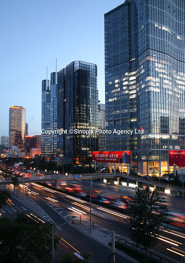 East Sanhuan road at night in Beijing, China..