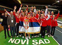 Serbian team celebrate Fed Cup Serbia vs Canada, World group II, first round, Novi Sad, Serbia, SPENS Sports Center, Sunday, February 06, 2011. (photo: Srdjan Stevanovic)(credit image & photo: Pedja Milosavljevic / +381 64 1260 959 / thepedja@gmail.com )