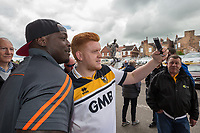 Adebayo Akinfenwa of Wycombe Wanderers poses for photos after arriving at Vale Park ahead of the Sky Bet League 2 match between Port Vale and Wycombe Wanderers at Vale Park, Burslem, England on 12 August 2017. Photo by David Horn.