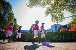 November 6, 2020: Jockeys walk through fall foliage in the paddock at Keeneland Racetrack in Lexington, Kentucky, on Friday, November 6, 2020. Scott Serio/Eclipse Sportswire/Breeders Cup/CSM