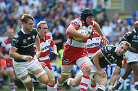 Ben Morgan of Gloucester Rugby runs through the tackle attempt of Tomas O'Leary of London Irish to score a try late in the first half during the Aviva Premiership match between London Irish and Gloucester Rugby at the Madejski Stadium on Saturday 8th September 2012 (Photo by Rob Munro)