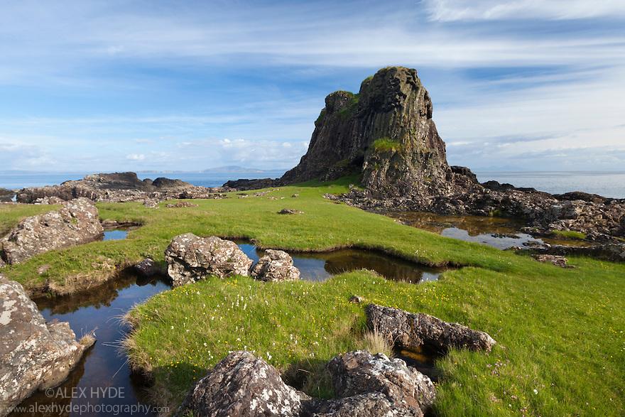 Basalt formations on the coastline near Carsaig, Isle of Mull, Scotland, UK. June.