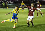 Kelty Hearts v St Johnstone…07.10.20   New Central Park  Betfred Cup<br />Callum Hendry's shot is blocked by Scott Hooper<br />Picture by Graeme Hart.<br />Copyright Perthshire Picture Agency<br />Tel: 01738 623350  Mobile: 07990 594431