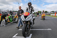 Tim Neave of the Neave Twins team (No. 14) on the grid ahead of the Pirelli National Superstock 600 Championship race at the 2017 BSB Round 6 - Brands Hatch GP Circuit at Brands Hatch, Longfield, England on Sunday 23 July 2017. Photo by David Horn/PRiME Media Images