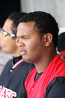 Juan Francisco of the Carolina Mudcats sitting in the dugout during a game against  the Huntsville Stars on April 22, 2009 at Five County Stadium in Zebulon, NC