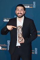 """French-Lebanese musician and composer Ibrahim Maalouf poses during a photocall after winning the Best Original Music award for """"Dans les forets de Siberie"""" (In the Forests of Siberia) during the 42nd edition of the Cesar Ceremony at the Salle Pleyel in Paris on February 24, 2017."""
