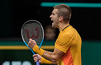 Rotterdam, The Netherlands, 5 march  2021, ABNAMRO World Tennis Tournament, Ahoy,  Quarter final:  Borna Coric (CRO) in jubilation after he defeats Kei Nishikori (JPN).<br /> Photo: www.tennisimages.com/henkkoster