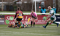 Lewis Thiede of Ealing Trailfinders collects the ball to score a try during the Greene King IPA Championship match between Ealing Trailfinders and Ampthill RUFC being played behind closed doors due to the COVID-19 pandemic restrictions at Castle Bar , West Ealing , England  on 13 March 2021. Photo by Alan Stanford / PRiME Media Images
