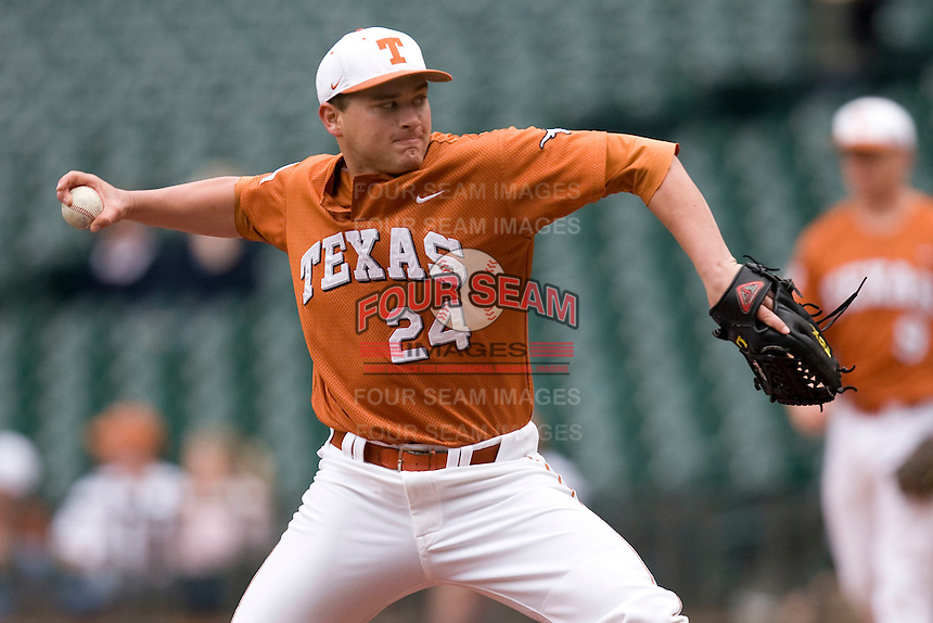 NCAA Baseball featuring the Texas Longhorns against the Missouri Tigers. Green, Cole 4810  at the 2010 Astros College Classic in Houston's Minute Maid Park on Sunday, March 7th, 2010. Photo by Andrew Woolley