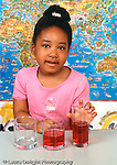 Piaget conservation of liquid preoperational child girl choosing tall thin glass as containing the most liquid