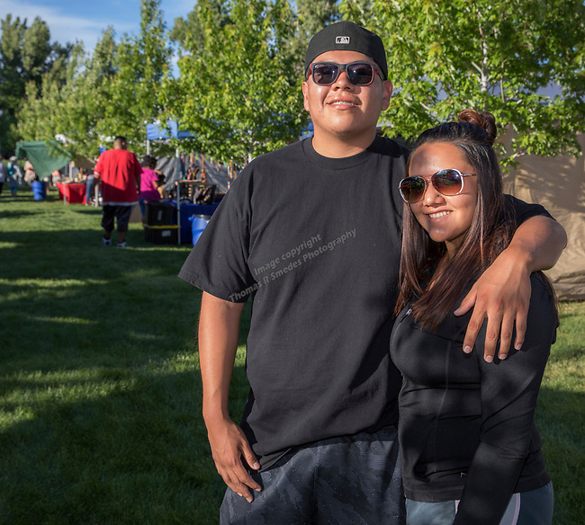 Tevin Lafond and Camiell Simpson during the Stewart Father's Day Pow Wow in Carson City on Friday, June 16, 2017.
