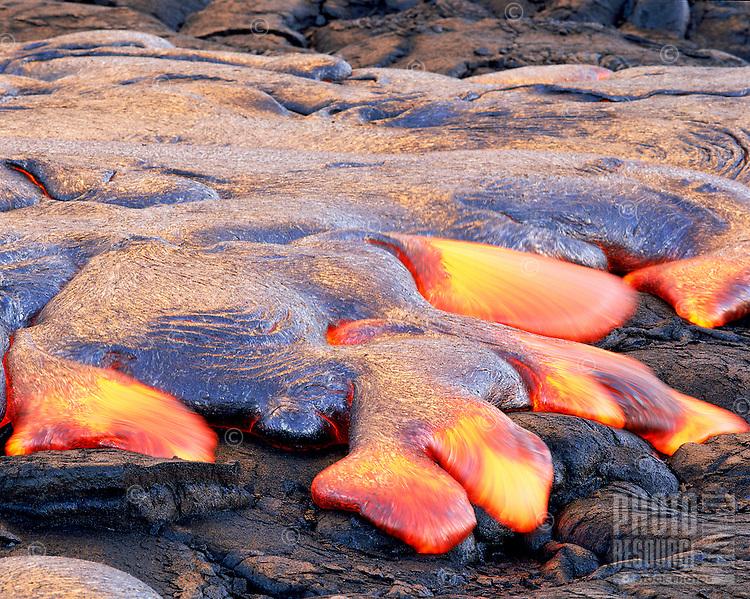 Pahoehoe lava flow, Kilauea volcano, Big Island of Hawaii