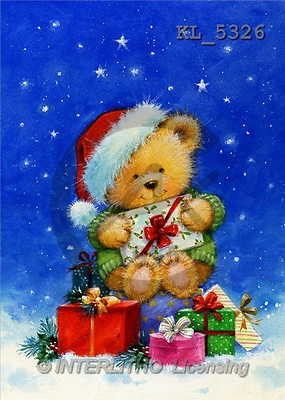 Interlitho, Hazel, CHRISTMAS ANIMALS, paintings, bear, gifts(KL5326,#XA#) Weihnachten, Navidad, illustrations, pinturas