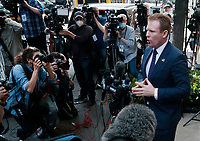 NEW YORK, NY- APRIL 28: Andrew Giuliani, son of Former New York City Mayor Rudolph Giuliani and Former legal counsel for former US President, Donald J.Trump, offers remarks after the FBI raided his fathers office and home in conjunction with a served warrant seeking evidence of the elder Giuliani of possible criminal involvement in alleged lobbying efforts dealing with the Ukraine. Press conference in New York City on April 28, 2021. <br /> CAP/MPI43<br /> ©MPI43/Capital Pictures